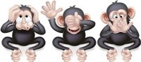 An illustration of the three wise monkeys, hear no evil, see no evil, speak no evil
